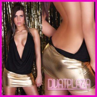 Női ruha, kámzsás nyakú miniruha nyitott hátú metál passzés több