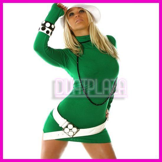 Ruha garbó miniruha tunika Zöld színben kesztyűujjas