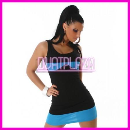 Női kétszínű nyári miniruha ujjatlan ruha