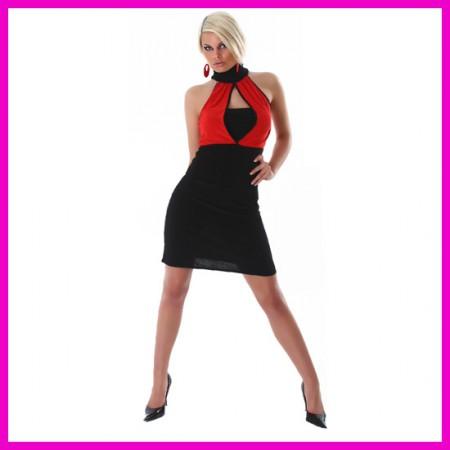 Női business ruha ujjatlan garbós miniruha