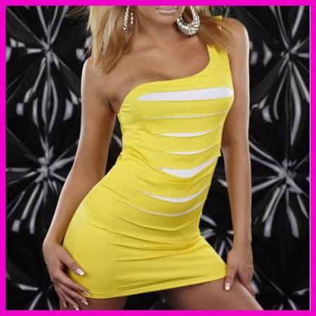 Női nyári ruha miniruha party ruha egyvállas szaggatott elejű