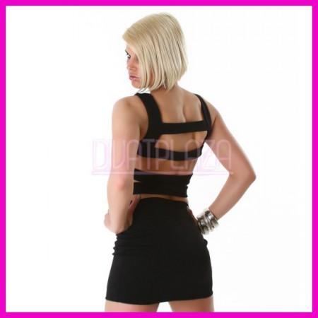 Ujjatlan nyári Miniruha elegáns ruha csík-hátú