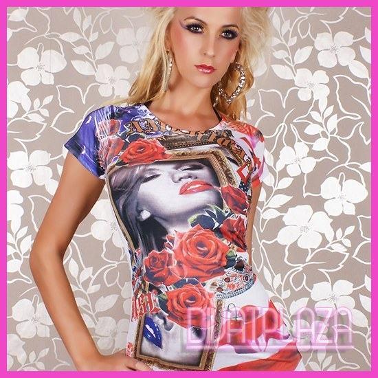 Rózsa mintás nyári póló, tuinika lila-piros-fehér