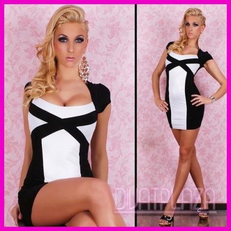 Elegáns alkalmi ruha, business ruha kétszínű