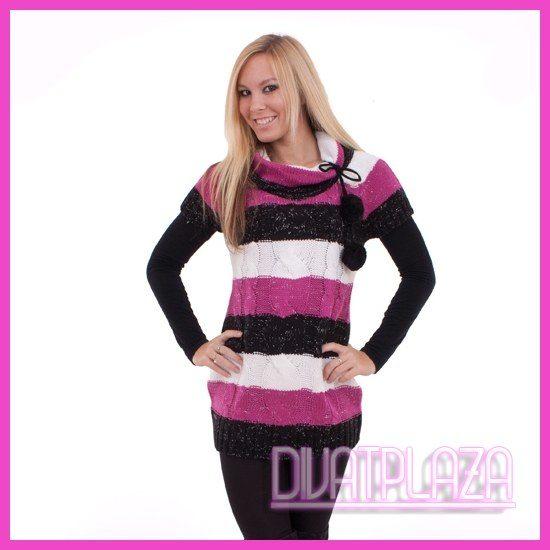 Kötött garbós csíkos pulóver bojttal pink-fekete