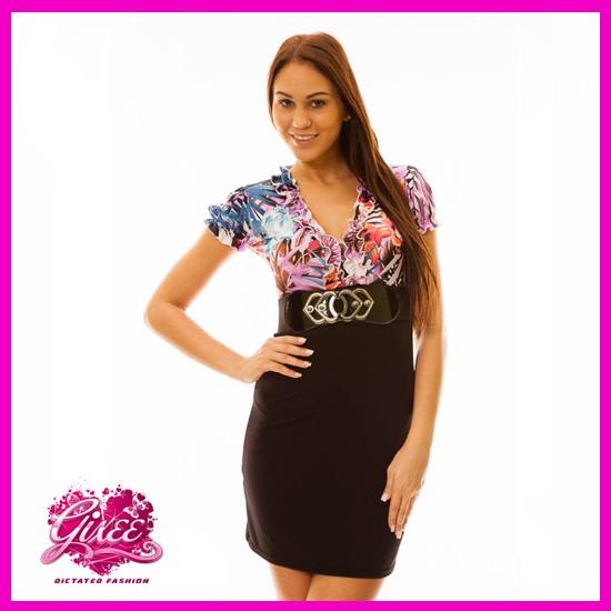GIXEE Business Ruha Rövidujjas Virágmintás Lila-fekete