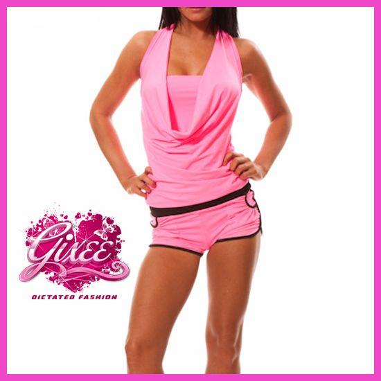 GIXEE Pink Overall Rövidnadrágos Overál Kámzsás Nyakú