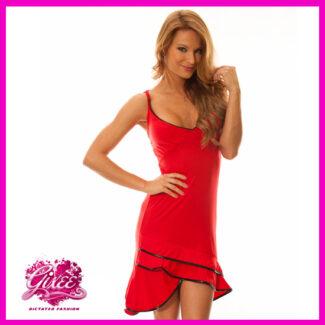 Salsa ruha, latino ruha, nyári pántos ruha menyecske ruha PIROS
