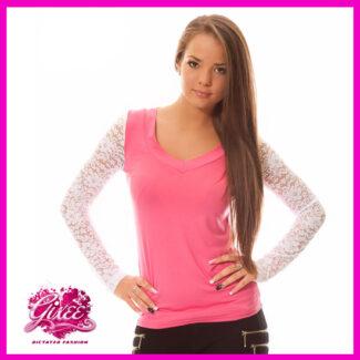 GIXEE Felső csipke ujjú V-nyakú női póló