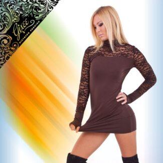 GIXEE Tunika női felső csipkés kesztyűujjas barna