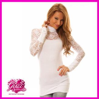 GIXEE Tunika női felső csipkés kesztyűujjas fehér'