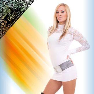 GIXEE Tunika női felső csipkés kesztyűujjas fehér