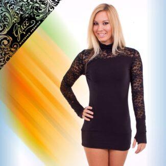 GIXEE Tunika női felső csipkés kesztyűujjas fekete