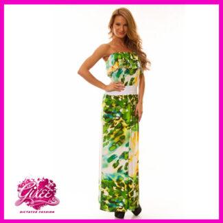 GIXEE Maxiruha, hosszú nyári ruha zöld