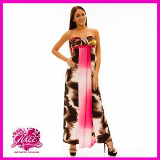 GIXEE Maxiruha, hosszú nyári ruha mellnél húzott Párduc