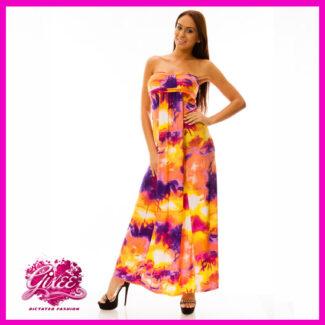 GIXEE Maxiruha, hosszú nyári ruha mellnél húzott Sárga