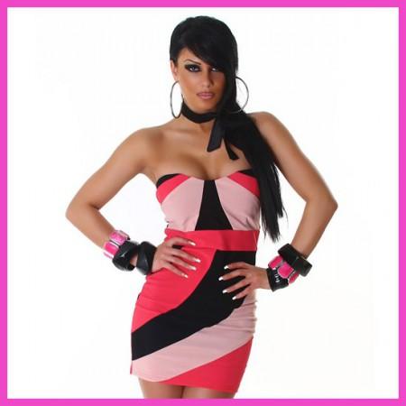 Miniruha csőruha fekete-pink-fehér