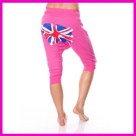 Mélyülepű nadrág pink angol zászlós