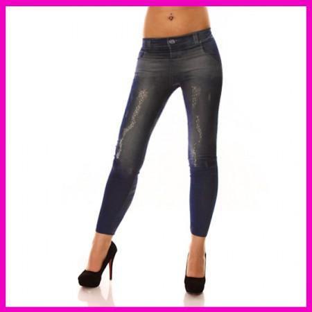 Farmer hatású mintás legging, szaggatott strasszos