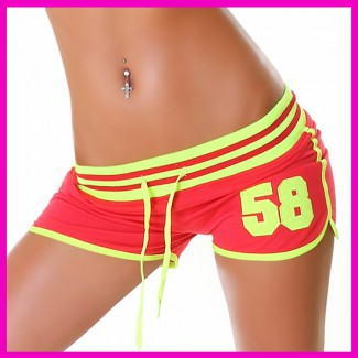 Sexy short, rövidrandrág neonzöld-piros