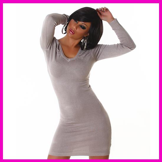 Női kötött pulóver V-nyakú bézs színű (Beige)