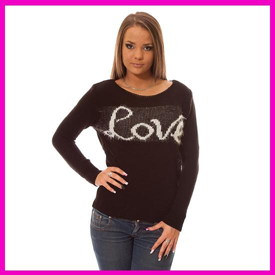 Kötött tavaszi pulóver Love felírattal Fekete