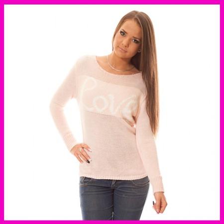 Kötött tavaszi pulóver Love Rózsaszín