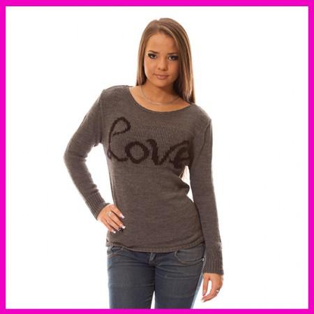 Kötött női pulóver Love felírattal Grafit