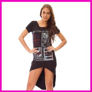 Hosszított női ruha, nyári ruha FEKETE