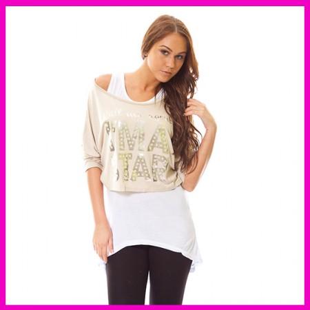 Hip-Hop ruha, női hosszított trikós felső KRÉM