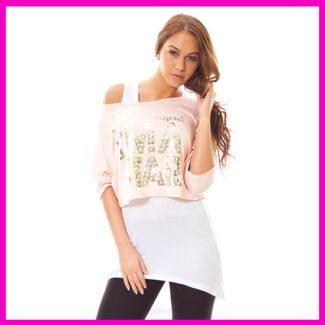 Hip-Hop ruha, női hosszított trikós felső RÓZSASZíN