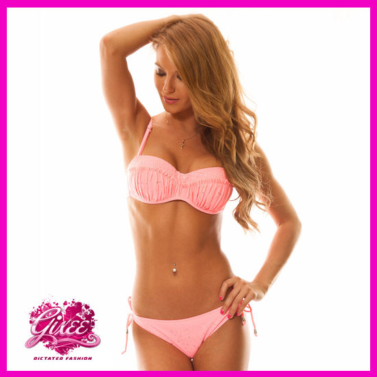 Bikini fürdőruha strasszos 2015 barack