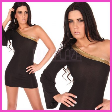 Miniruha ferdevállas, női ruha, egyujjas metál díszítéses