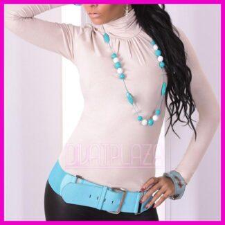 Garbós női felső húzott nyakú
