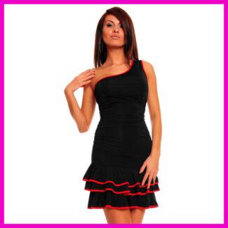 Táncos ruha ferdevállas miniszoknyás egyberuha