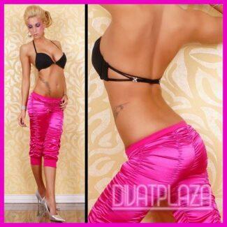 Női szatén nadrág capri fazonú húzott PINK