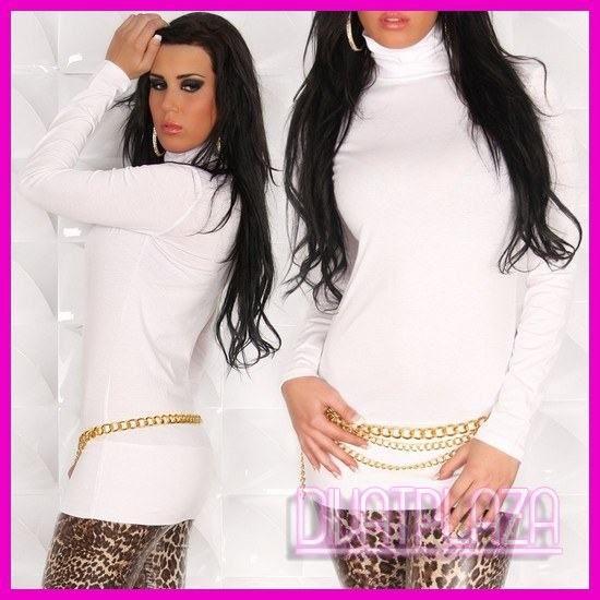Női ruha miniruha tunika garbós fehér