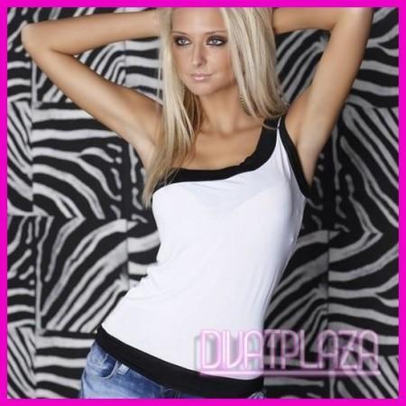Női Felső trikó ferdevállas kétszínű  fehér