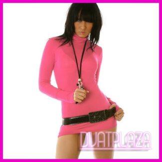 Ruha garbó miniruha tunika rózsaszín színben kesztyűujjas