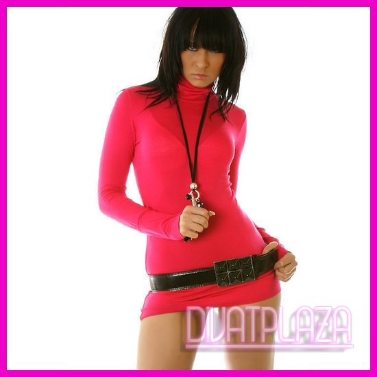 Ruha garbó miniruha tunika pink színben kesztyűujjas