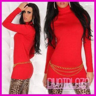 Női ruha miniruha tunika garbós piros